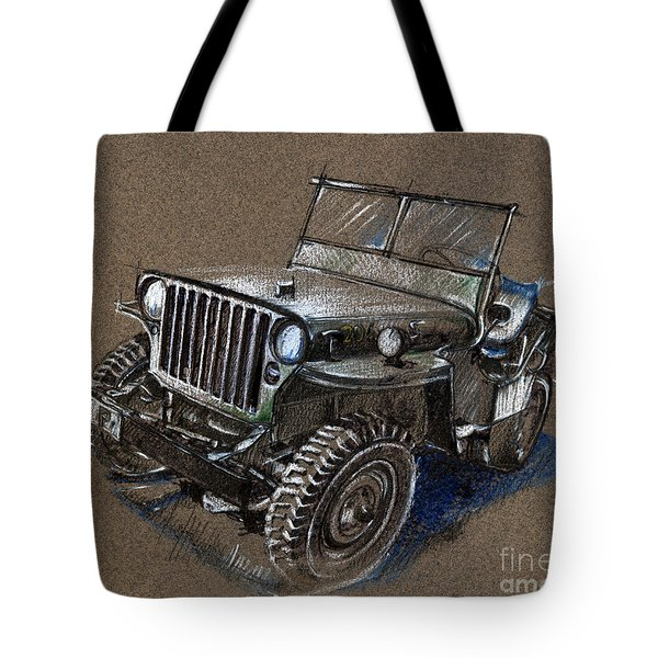 Willys Car Drawing Tote Bag by Daliana Pacuraru
