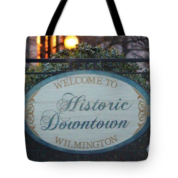 Wilmington Sign Tote Bag by Cynthia Guinn