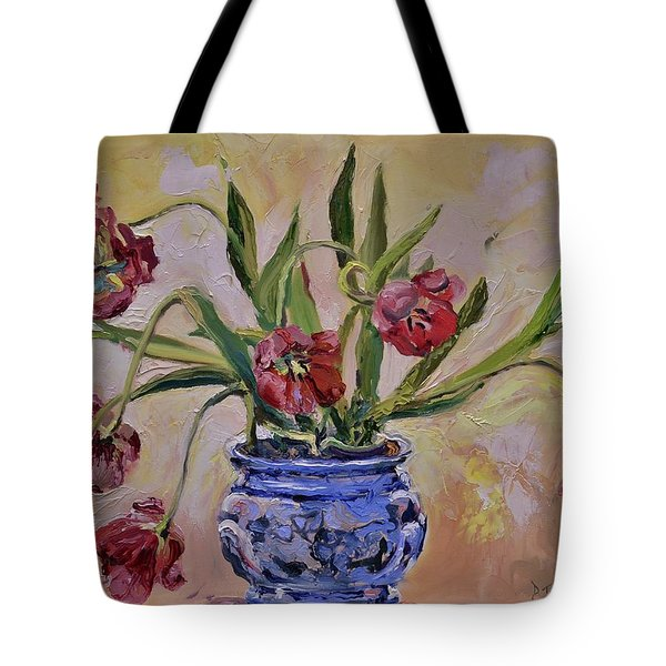Wilting Tulips Tote Bag by Donna Tuten