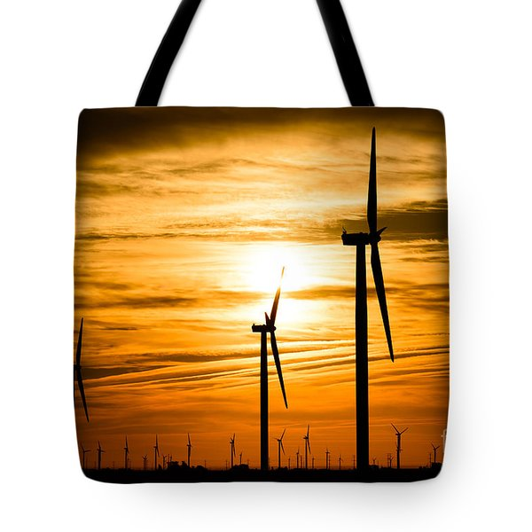 Wind Turbine Farm Picture Indiana Sunrise Tote Bag by Paul Velgos