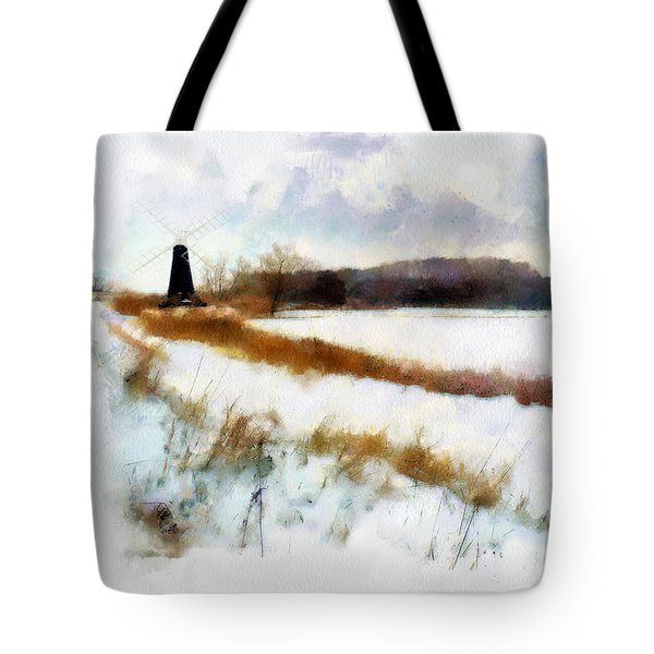 Windmill in the snow Tote Bag by Valerie Anne Kelly