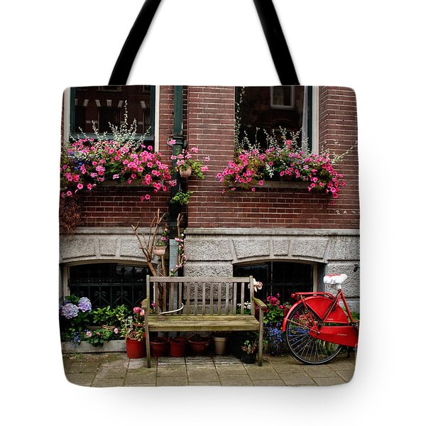 Window Box Bicycle And Bench Tote Bag by Thomas Marchessault