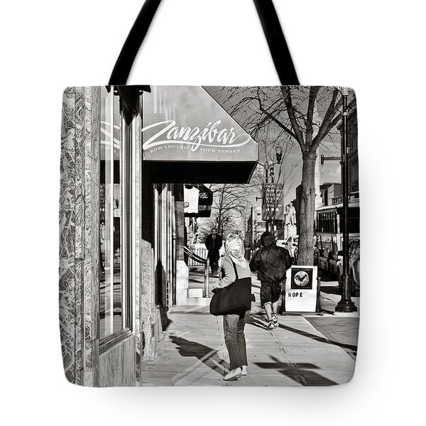 Window Shopping In Lancaster Tote Bag by Trish Tritz