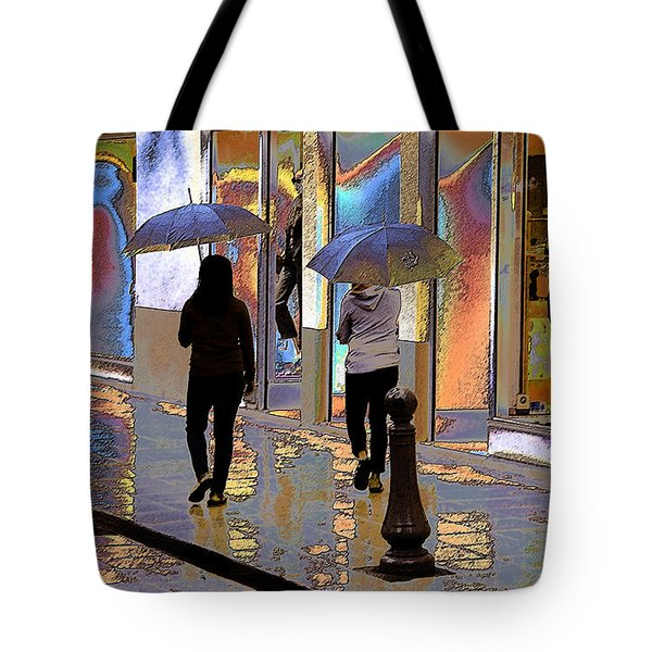 Window Shopping In The Rain Tote Bag by Ben and Raisa Gertsberg