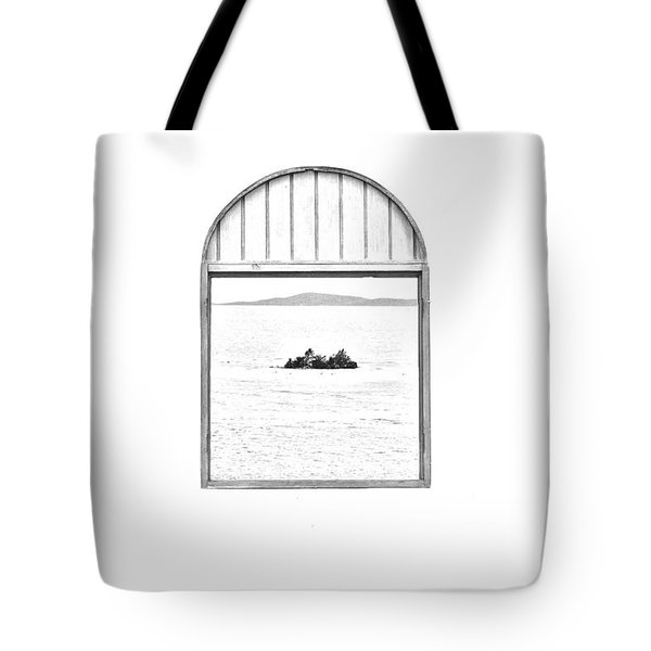 Window View Of Desert Island Puerto Rico Prints Black And White Line Art Tote Bag by Shawn O'Brien