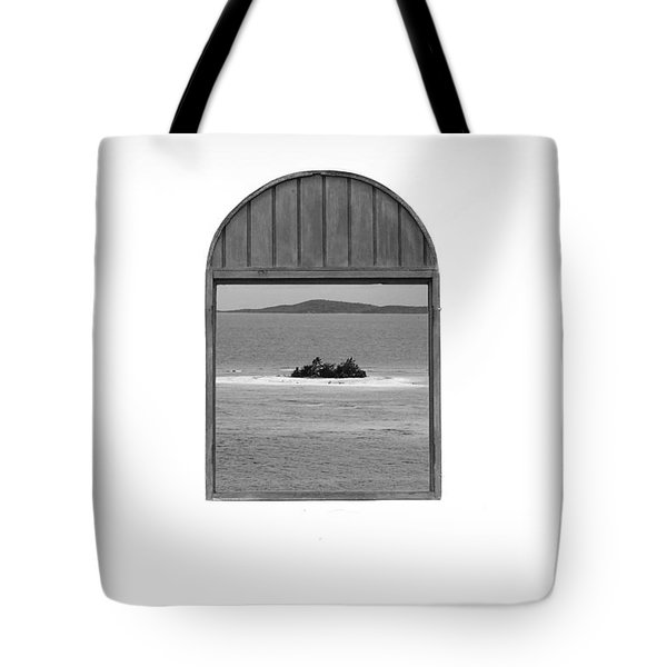 Window View Of Desert Island Puerto Rico Prints Black And White Tote Bag by Shawn O'Brien