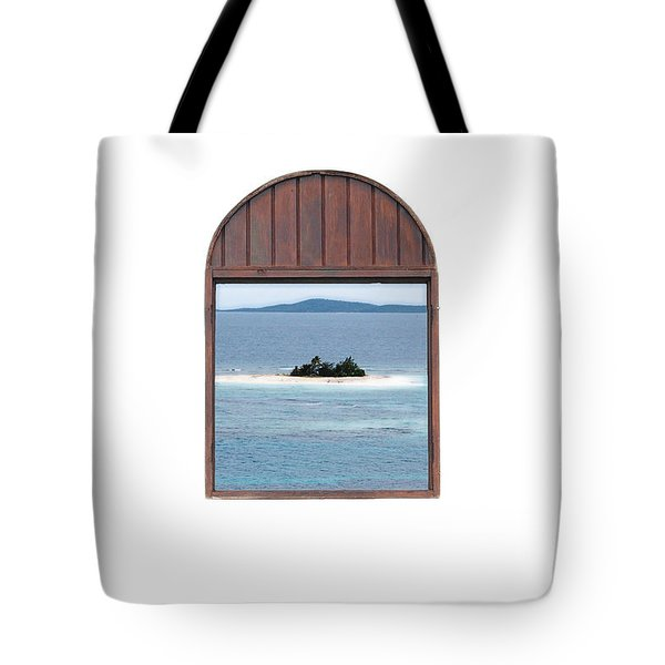 Window View Of Desert Island Puerto Rico Prints Diffuse Glow Tote Bag by Shawn O'Brien