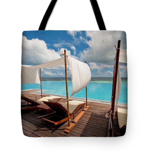 Windy Day At Maldives Tote Bag by Jenny Rainbow