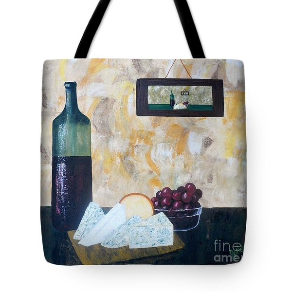 Wine and Cheese Hour Tote Bag by JoNeL Art