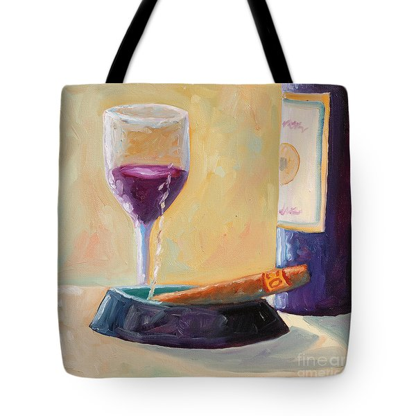 Wine And Cigar Tote Bag by Todd Bandy
