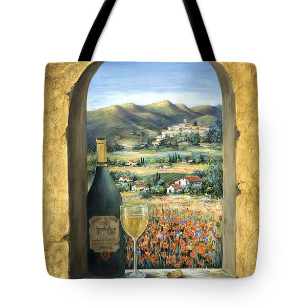 Wine And Poppies Tote Bag by Marilyn Dunlap
