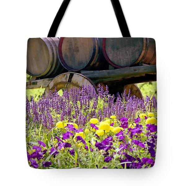 Wine Barrels At V. Sattui Napa Valley Tote Bag by Michelle Wiarda