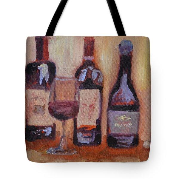 Wine Bottle Trio Tote Bag by Donna Tuten