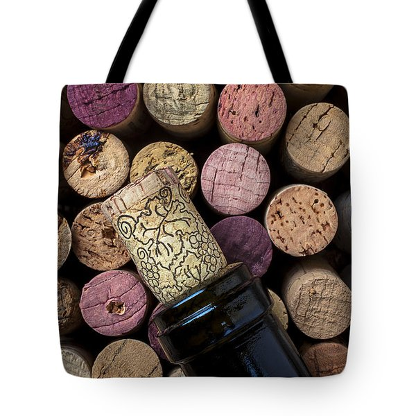 Wine bottle with corks Tote Bag by Garry Gay