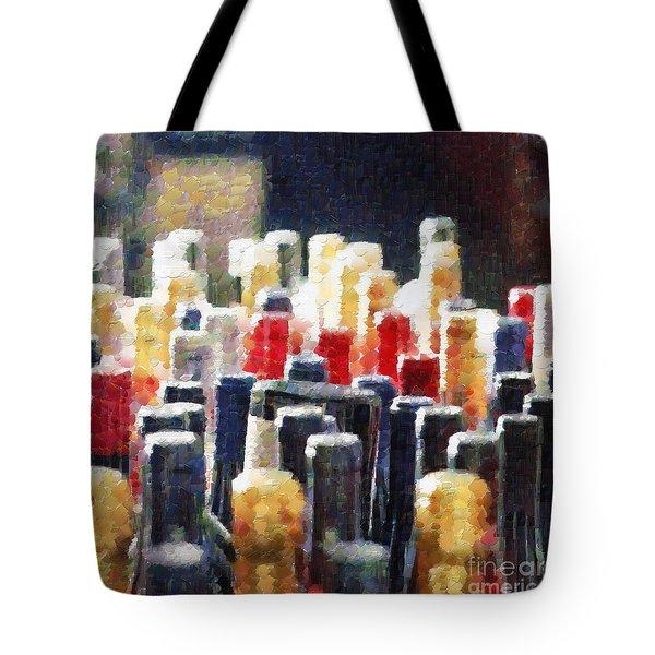 Wine bottles painting Tote Bag by Magomed Magomedagaev