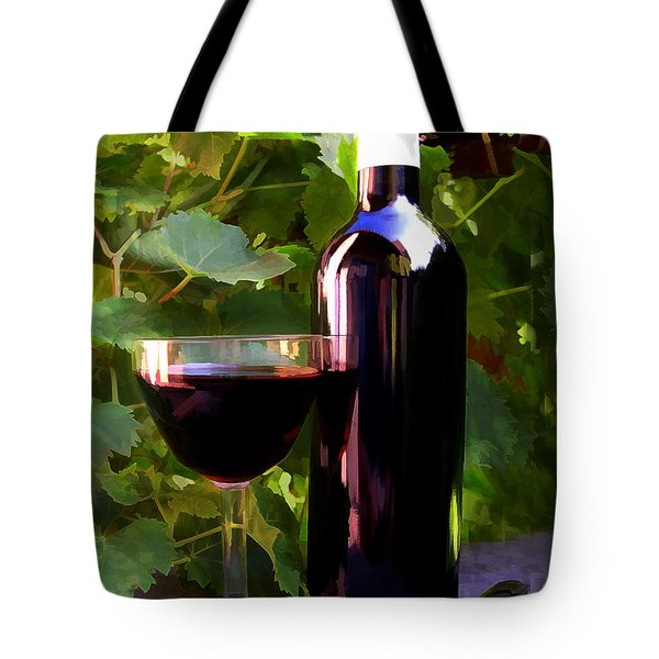 Wine In The Sunset Tote Bag by Elaine Plesser
