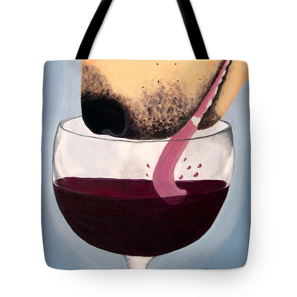 Wine Is Best Shared With Friends - Yellow Dog Tote Bag by Amy Reges