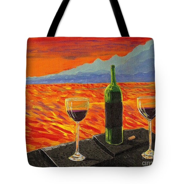 Wine On Sunset Terrace Tote Bag by Vicki Maheu