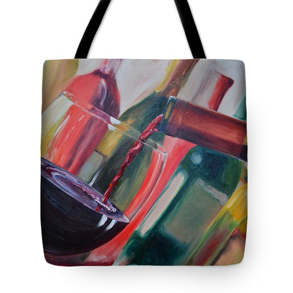 Wine Pour III Tote Bag by Donna Tuten