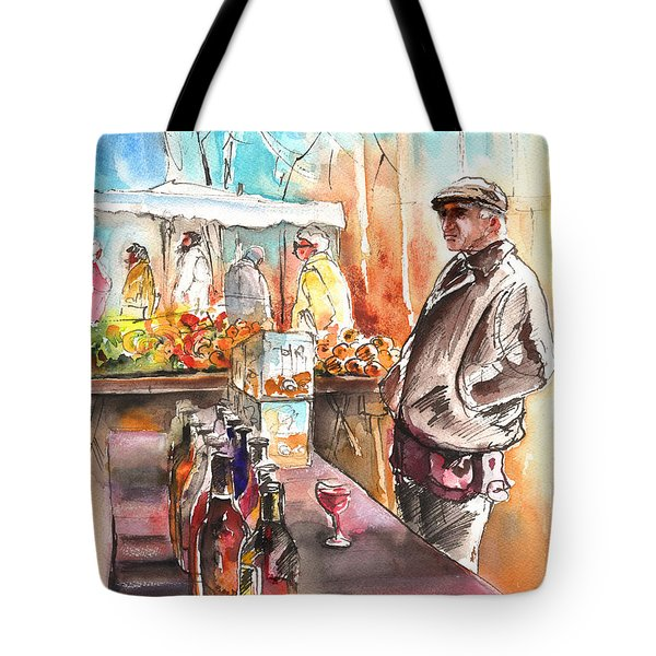 Wine Vendor In A Provence Market Tote Bag by Miki De Goodaboom