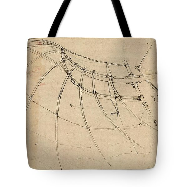 Wing Covered With Cloth And Moved By Means Of Crank Winch Below Right Detail Of Winch Tote Bag by Leonardo Da Vinci