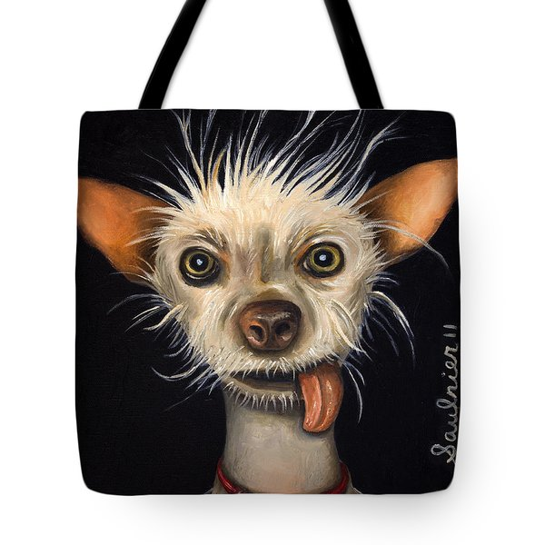 Winner Of The Ugly Dog Contest 2011 Tote Bag by Leah Saulnier The Painting Maniac