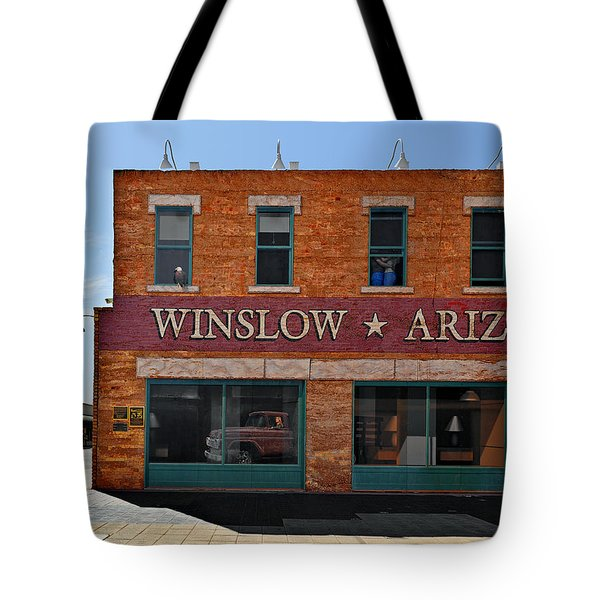Winslow Arizona On Route 66 Tote Bag by Christine Till