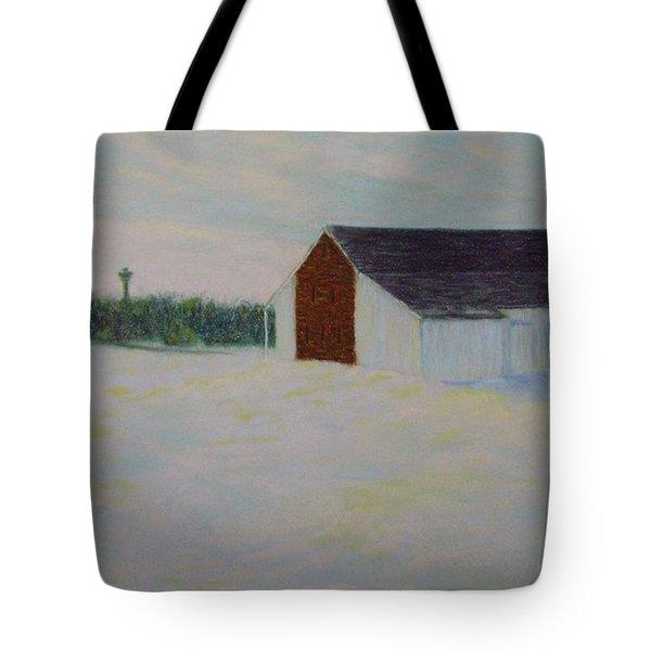 Winter At Mcphersons Barn Gettysburg Tote Bag by Joann Renner
