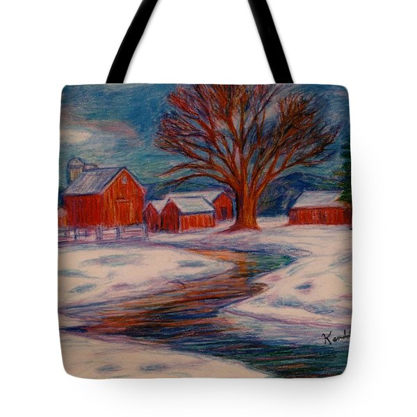 Winter Barn Scene Tote Bag by Kendall Kessler