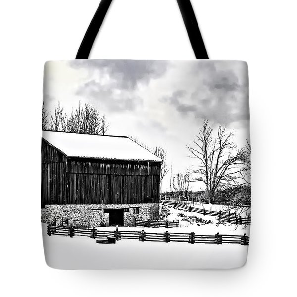 Winter Barn Tote Bag by Steve Harrington