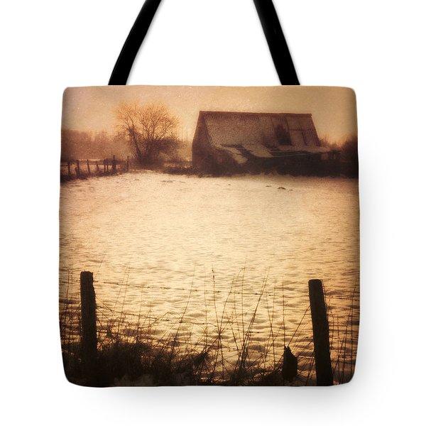 Winter Barn Tote Bag by Wim Lanclus