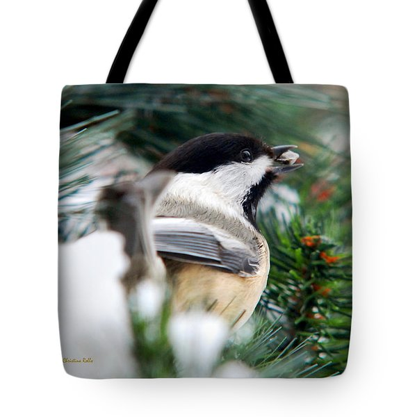 Winter Chickadee With Seed Tote Bag by Christina Rollo