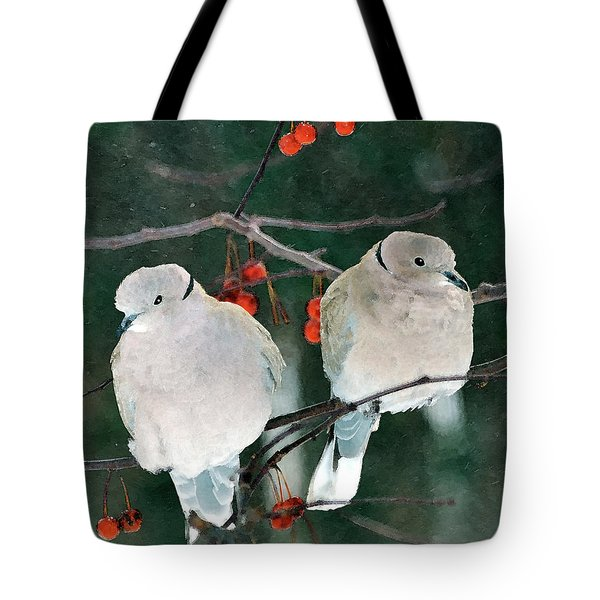 Winter Doves Tote Bag by Betty LaRue
