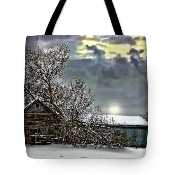 Winter Farm Polaroid Transfer Tote Bag by Steve Harrington