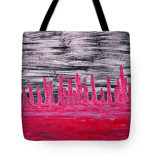 Winter Hoodoos Original Painting Tote Bag by Sol Luckman