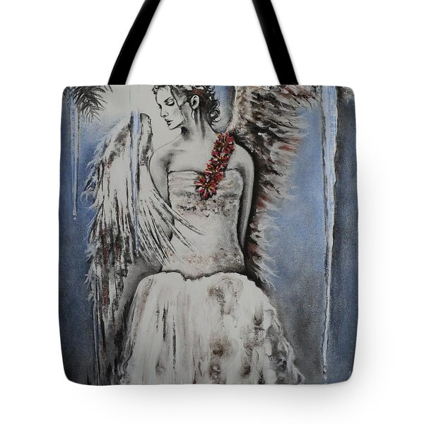 Winter Ice Angel Tote Bag by Carla Carson