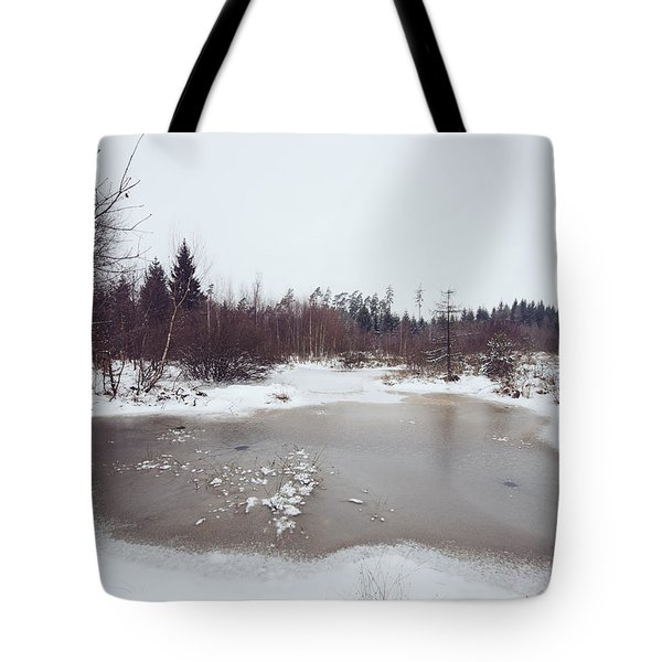 Winter landscape with trees and frozen pond Tote Bag by Matthias Hauser