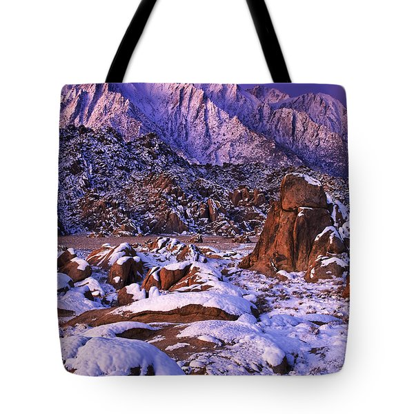 Winter Morning Alabama Hills And Eastern Sierras Tote Bag by Dave Welling