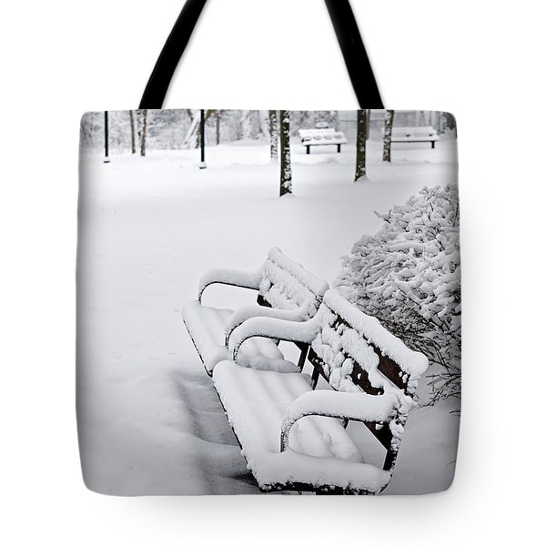 Winter park with benches Tote Bag by Elena Elisseeva