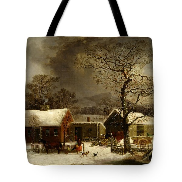 Winter Scene In New Haven Connecticut 1858 By Durrie Tote Bag by Movie Poster Prints