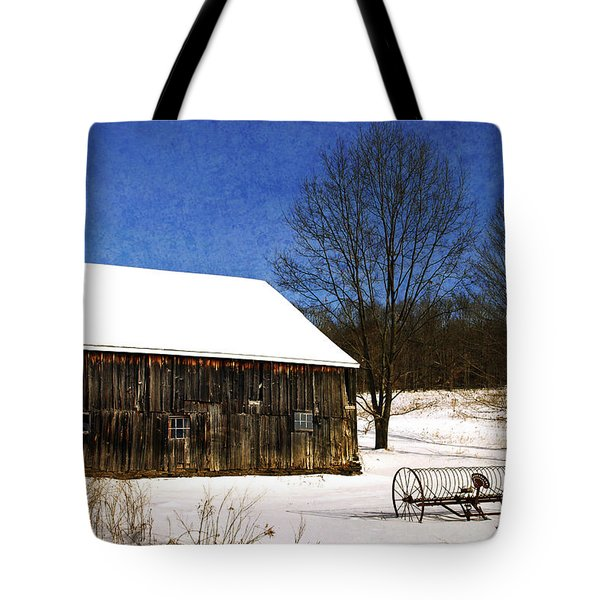 Winter Scenic Farm Tote Bag by Christina Rollo