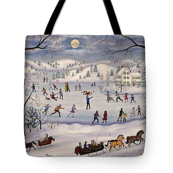 Winter Skating Tote Bag by Linda Mears