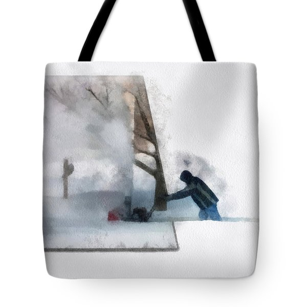 Winter Snow Blower Photo Art Tote Bag by Thomas Woolworth