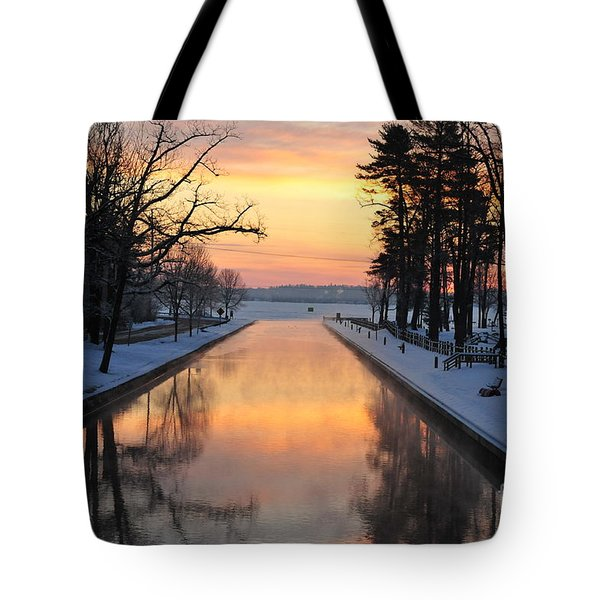 Winter Sunrise At Mitchell State Park Tote Bag by Terri Gostola