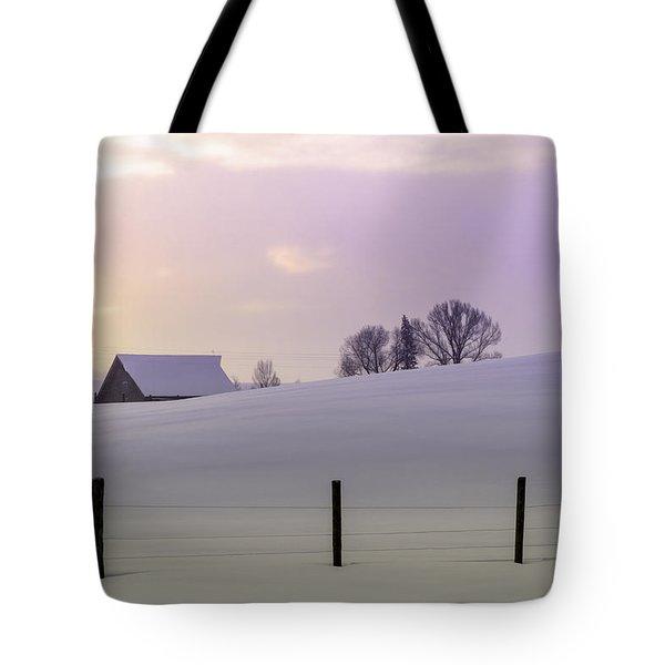 Winter Sunrise Tote Bag by Teri Virbickis