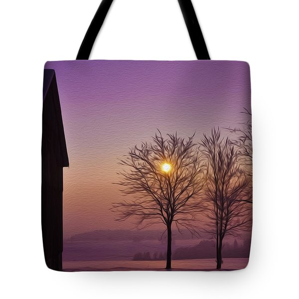 Winter Sunset Tote Bag by Aged Pixel