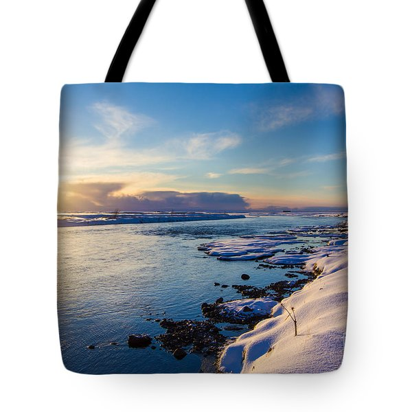 Winter Sunset In Iceland Tote Bag by Peta Thames