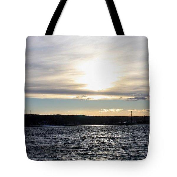 Winter Sunset Over Gardiner's Bay Tote Bag by John Telfer