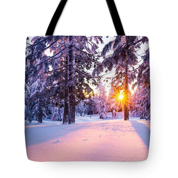 Winter Sunset Through Trees Tote Bag by Priya Ghose