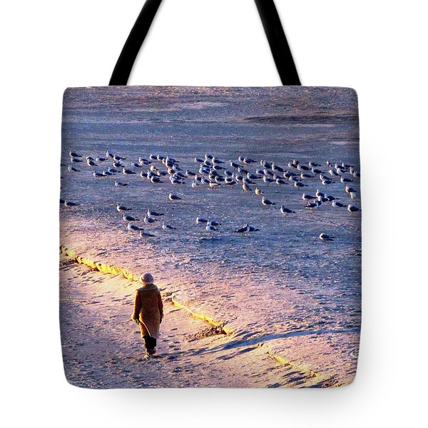 Winter Time At The Beach Tote Bag by Cynthia Guinn